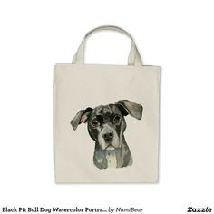 Black Pit Bull Dog Watercolor Portrait Tote Bag. This is a painting of the headshot of a black pit bull dog. She has her head tilted slightly and looking upwards. She has brown eyes. This was painted in watercolor.