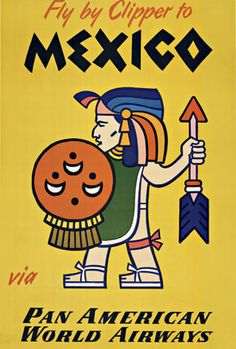 Mexico Pan American - Fly by Clipper; original linen backed vintage travel poster.