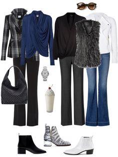 Ensemble: Bootcuts, Wrap Blouse, Topper & Booties - YLF skip the grey! 50 Fashion, Winter Fashion, Fashion Outfits, Womens Fashion, Style Fashion, Looks Style, My Style, Capsule Wardrobe, Shoe Wardrobe