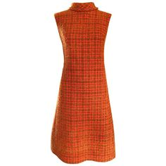 Chic 1960s Burnt Orange Wool Boucle Checkered Vintage 60s A - Line Dress | From a collection of rare vintage cocktail-dresses at https://luigi.1stdibs.com/fashion/clothing/day-dresses/cocktail-dresses/