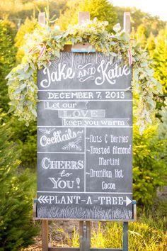 Festive chalkboard sign: http://www.stylemepretty.com/illinois-weddings/2013/12/24/holiday-shoot-at-ide-christmas-tree-farm/ | Photography: Amanda Hein - http://amandahein.com/