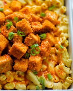 High Protein Buffalo Tofu Mac and Cheese Classic Mac And Cheese, Vegan Mac And Cheese, Firm Tofu Recipes, Whole Food Recipes, Vegan Recipes, Cheesy Pasta Recipes, Cheese Recipes, Edamame Pasta, Buffalo Tofu