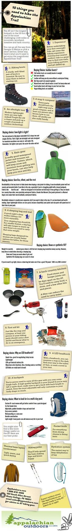An Appalachian Trail packing list Infographic... 10 things you need! #hiking #outdoors #camping