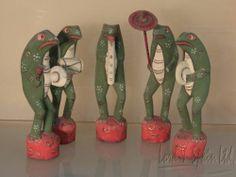5 Vintage Bali Indonesian Carved Painted 5 PC LG Frog Band Figures | eBay