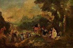 Jean-Antoine Watteau, Pilgrimage to the Isle of Cythera, Musée du Louvre, Paris. Rococo Painting, Oil Painting Reproductions, Large Painting, Painting Abstract, French Rococo, French Art, Rococo Style, Oil On Canvas, Canvas Prints