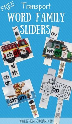 Download these free transport word family sliders. Great for practicing consonant digraphs and blends!