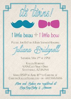 RiDesign Studio Twins Baby Shower Invitation. Beau and Bow. Boy and girl twins.