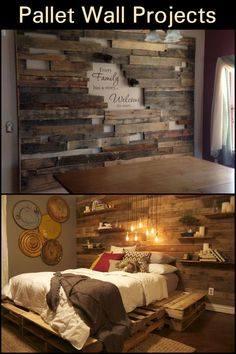Transforming a Boring Spot in Your Hoe into an Accent Wall Doesn't Have to Cost You a Fortune Rustic House, Rustic Home Decor, Rustic Master Bedroom, Bedroom Makeover, Master Bedrooms Decor, Bedroom Decor, Wood Walls Bedroom, Remodel Bedroom, Home Decor