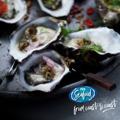 Looking for a fresh topping for oysters?   Diced tomato, black (Chinese) vinegar and spring onions; or maybe Champagne and French shallot vinaigrette.  PRODUCT CODE:  030488 - Fresh 1/2 Shell Bistro Pacific Oysters