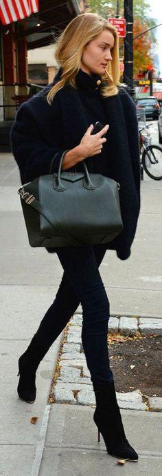 #street #fashion Rosie Huntington-Whiteley fall @wachabuy