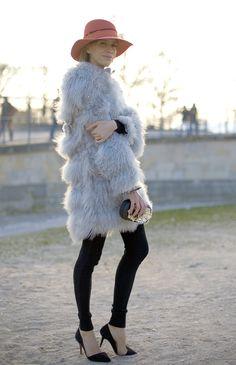Streetpeeper.com Street Fashion Hat: Salmon Pink Hat Coat: Jeweled Fur Coat Pants: Black Leggings Shoes: Black Shoes Photo By: Phil Oh