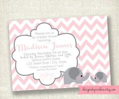 Chevron Baby Girl Pink and Gray Elephant - Baby Shower PRINTABLE Invitations