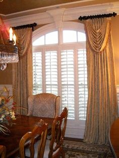 Lady Dianne's Custom Window & Bed Treatments in Fayetteville GA has over 30 years experience helping our clients create their perfect home! We provide Beautiful Decorative Hardware Fabulous Draperies Unique Drapery Panels and more! Arched Window Treatments, Custom Window Treatments, Arched Windows, Window Coverings, Bay Windows, Dining Room Curtains, Dining Room Windows, Burlap Curtains, Custom Drapes