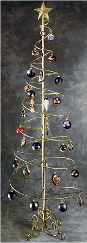 Gold Spiral Wire Ornament Tree