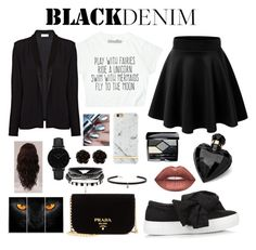 """Classic Black"" by k-atherine-queen on Polyvore featuring Joshua's, American Vintage, Lipsy, Lime Crime, Christian Dior, Richmond & Finch, Prada, WigYouUp, CLUSE and Erica Lyons"