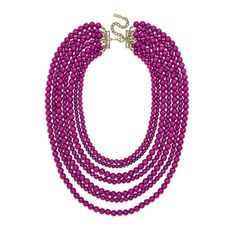 BaubleBar 'Bold' Multistrand Beaded Statement Necklace ($38) ❤ liked on Polyvore featuring jewelry, necklaces, magenta, lucite necklace, multi strand beaded necklace, lucite jewelry, bead strand necklace and statement necklace