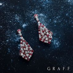 Simply stellar Over 180 round and baguette rubies are complemented by 56 of the finest white diamonds in these highly sculptural Graff earrings. #GraffDiamonds #Rubies #Diamonds #FineJewellery #RubyEarrings