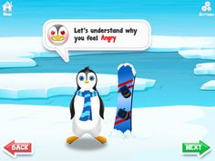Positive Penguin App - help kids understand emotions, and teach kids how do they feel about something is their choice.  They can choose not to be angry/upset/... #eq #emotionalintelligence #kidsapps