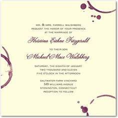 Modern Vineyard wedding invitation