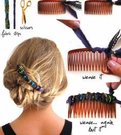 DIY fabric covered hair comb