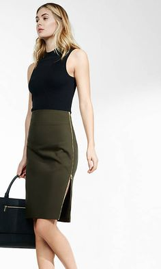 Side Zipper Midi Pencil Skirt from EXPRESS