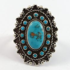 """Vintage Sterling Silver Ring set with Turquoise and Appliqué Twisted Wire Designs. Ring Size: 8.75 .25"""" Band Width"""