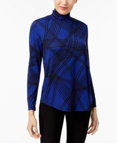 Jm Collection Petite Printed Turtleneck Top, Created for Macy's - Blue P/XL