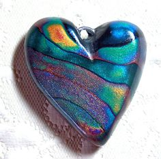 Heart Aurora Borealis Pendant, Polymer Clay Heart Focal Bead No.2