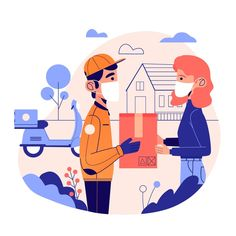 Download Delivery Service With Masks Concept for free
