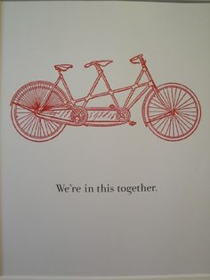red bicycle made for two - we're in this together