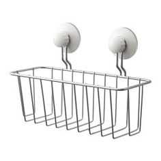 IKEA - IMMELN, Shower basket, Includes suction cups that grip smooth surfaces such as glass, mirrors and tiles.Made of zink-plated steel, which is durable and rust resistant.