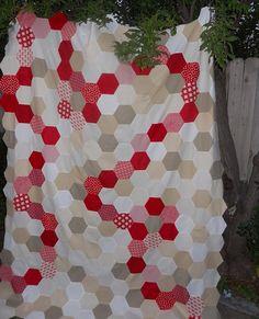Machine Pieced Hexagon Quilt Top | by AuntNino