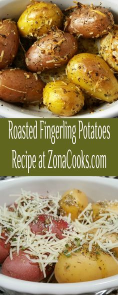 These Roasted Fingerling Potatoes are buttery with garlic and herbs tossed with Parmesan cheese and roasted to crisp-tender perfection! They are easy and quick, ready in just 35 minutes. This recipe makes a small batch side dish perfect for two people. #RoastedPotatoes #fingerling #potatoes #SideDishForTwo #DinnerForTwo #LunchForTwo #RecipesForTwo Steak Side Dishes, Potato Side Dishes, Veggie Dishes, Roasted Fingerling Potatoes, Cook At Home, Meals For Two, Tossed, Side Dish Recipes, Potato Recipes