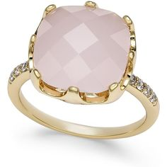 Charter Club Pave & Pink Stone Ring, ($21) ❤ liked on Polyvore featuring jewelry, rings, gold, charter club jewelry, pink ring, stone ring, pink stone jewelry and pink stone rings