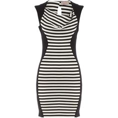 White and black panel dress ❤ liked on Polyvore