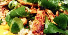 Fabulosa receta para Ensalada de quinoa con pollo, mango y canónigos. El dulzor del mango y el toque picante del pollo crujiente hacen de…