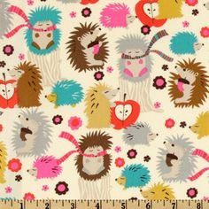 Michael Miller Hedgehog Meadow Cream from @fabricdotcom  Designed for Michael Miller Fabrics, this fabric features whimsical hedgehogs and is perfect for quilting and craft projects. Colors include teal, hot pink, red taupe, brown and lime on a cream background.