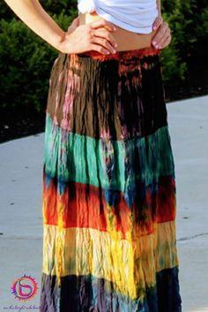 Tie Dye Boho Hippie Festival Skirt This skirt is so versatile it can be Summer thru Fall. Fair Trade, Ethical Clothing