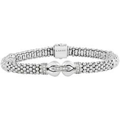 LAGOS 6mm Sterling Silver Diamond Derby Bracelet (1,045 CAD) ❤ liked on Polyvore featuring jewelry, bracelets, silver, diamond jewelry, sterling silver diamond jewelry, diamond jewellery, diamond bangles and white diamond jewelry