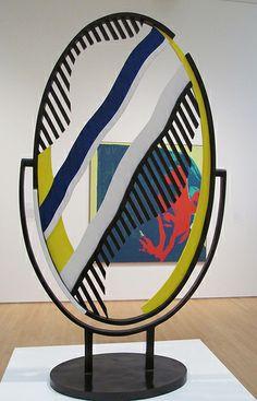 Roy Lichtenstein - Mirror I, 1977 Jasper Johns, Robert Rauschenberg, Roy Lichtenstein Pop Art, Industrial Paintings, Art Folder, Arte Pop, Claes Oldenburg, Cultura Pop, Retro Art