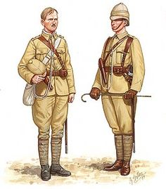 North West Frontier India 1897 Officers in khaki drill, the one on the right newly arrived on the Frontier