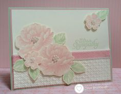 Handmade floral sympathy card created by Cindy Brumbaugh. Nice use of pastels and texture. #Flower, #Floral, #FlowerCard, #HandmadeFlowerCard, #FloralCard,  #HandmadeFloralCard, #FlowerSympathyCard, #FloralSympathyCard, #PastelSympathyCard, #Sympathy, #SympathyCard, #HandmadeSympathyCard, #CardForSympathy, #CardForFuneral