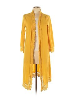 Long Yellow Cardigan Sweater Jacket w// Lace Front /& 3//4 Sleeves Genuine BARBIE