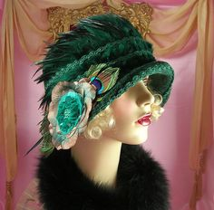 1920's Vintage Style Green Peacock Feather Floral Cloche Flapper Hat | eBay