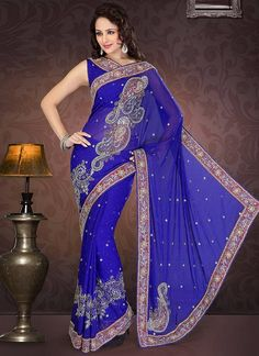 A Navy blue color stone saree!! It's like dark blue sky in which stars are embedded in it!! One fine day, I will adore this saree!!