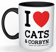 Cat Mug, I love CATS and CORBYN blk handle mug, Cat Lover Gift, Crazy Cat Lady, Funny,CCL Boutique, Brighton, Labour Party, Jeremy Corbyn by CCLBoutique on Etsy