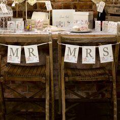 Stolsdekoration - With Love - Mr & Mrs