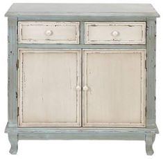 The Shabby Chic décor style popularized by Rachel Ashwell and Arhaus seeks to have an opulent vintage look. Shabby Chic furniture is given a distressed look by covered in sanded milk paint. The whole décor style has an intriguing flea market look. Antique Cabinets, Wood Cabinets, Kitchen Cabinets, Kitchen Island, Green Cabinets, Kitchen Paint, Storage Cabinets, Cupboards, Storage Shelves