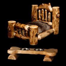 Aspen Log Dog Bed & Feeder... Cody & Moose need these!