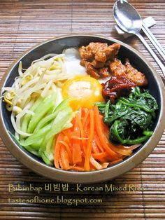 Bibimbap 비빔밥 (korean Mixed Rice) With Rice, Spinach, Carrots, Cucumber, Beansprouts, Pork, Gochujang Base, Garlic, Gochugaru, Sesame Oil, Soy Sauce, Salt, Eggs